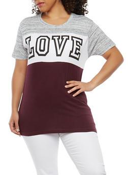 Plus Size Love Grapic T Shirt - 1912033876815