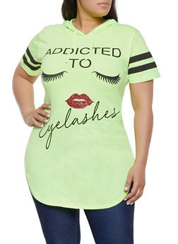 Plus Size Addicted to Eyelashes Graphic Tunic Tee - 1912033877028