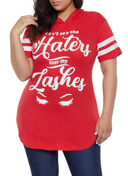 Plus Size Lashes Graphic Tunic Tee - 1912033877038