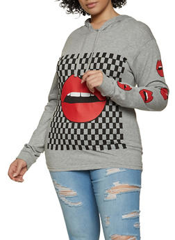 Plus Size Checkered Lip Graphic Hooded Top - 1912033877385