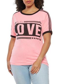 Plus Size Love Graphic T Shirt - 1912033877849
