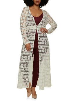 Plus Size Long Sleeve 3 Button Lace Duster - 1912033878400