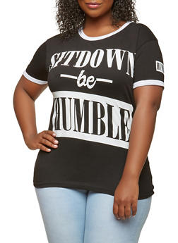 Plus Size Humble Graphic Tee - BLACK - 1912033879535