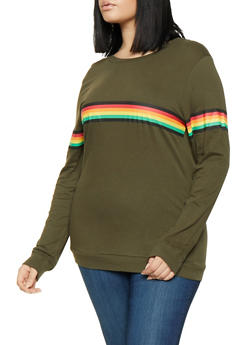Plus Size Long Sleeve Striped Detail Tee - 1912033879807
