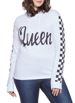 Plus Size Queen Graphic Hooded Top - 1912033879815