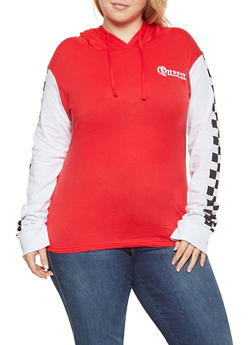 Plus Size Queen Graphic Hooded Top - 1912033879843