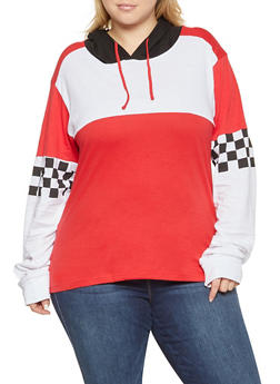 Plus Size Checkered Sleeve Hooded Top - 1912033879844