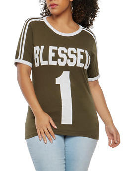 Plus Size Blessed Graphic T Shirt - 1912033879969
