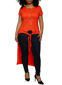 Plus Size Solid Knot Front Top with Necklace - 1912038340102
