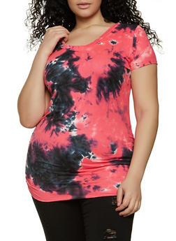 Plus Size Tie Dye Ruched Tee - 1912038340109