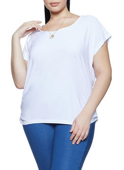 Plus Size Cap Sleeve Top with Necklace - 1912038340121