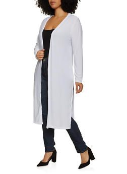 Plus Size Solid Side Slit Duster - 1912038340122