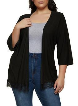 Plus Size Lace Trim Cardigan - 1912038340123