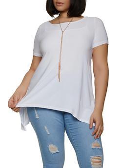 Plus Size Sharkbite Hem Top with Necklace - 1912038340131