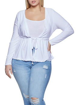 Plus Size Drawstring Waist Cardigan - 1912038340136