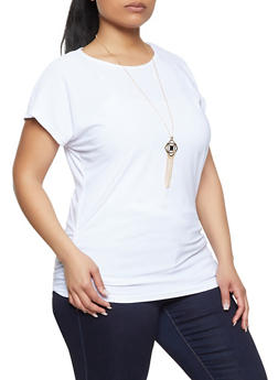 Plus Size Ruched Side Top with Necklace - 1912038340138