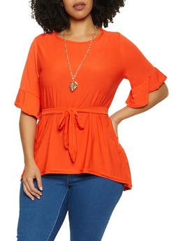 Plus Size Tie Waist Top with Necklace - 1912038340141