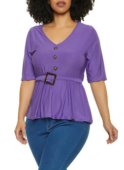 Plus Size Belted Top - 1912038340142