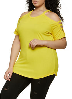 Plus Size Rib Knit Caged Cold Shoulder Top - 1912038340150