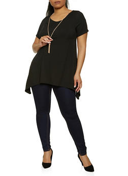 Plus Size Caged Back Rib Knit Top with Necklace - 1912038340155