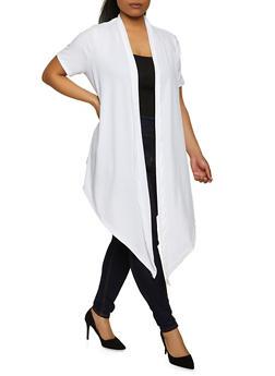 Plus Size Ribbed Knit Kimono - 1912038340156