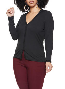 Plus Size Rib Knit Button Front Sweater - 1912038340158