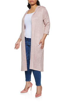 Plus Size Brushed Knit Hooded Duster - 1912038340197