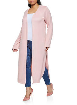 Plus Size Brushed Knit Duster - 1912038340198