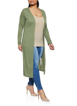 Plus Size Solid Long Sleeve Duster - 1912038340236