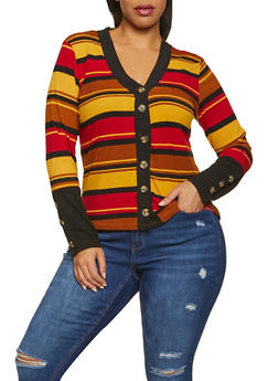Plus Size Striped Cardigan - 1912038340250