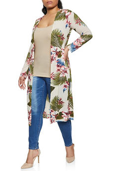 Plus Size Printed Textured Duster - 1912038340273