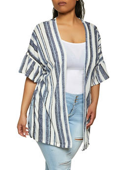 Plus Size Ruffle Sleeve Striped Duster - 1912038340274