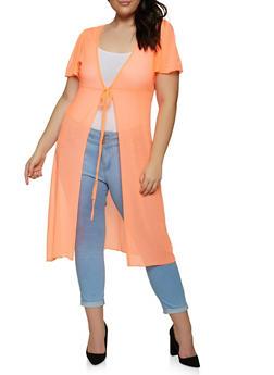 Plus Size Tie Front Mesh Duster - 1912038340303
