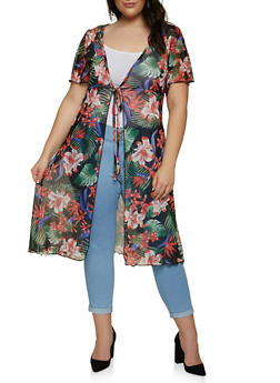 Plus Size Printed Mesh Tie Front Duster - 1912038340310
