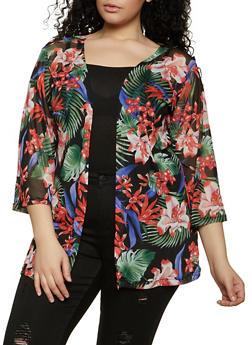 Plus Size Printed Mesh Kimono - 1912038340314