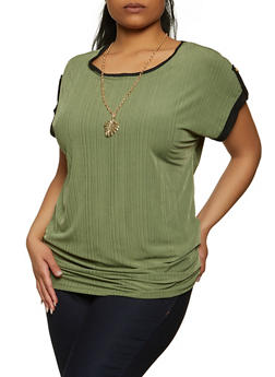 Plus Size Ruched Rib Knit Top with Necklace - 1912038340420
