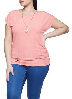 Plus Size Rib Knit Keyhole Back Top with Necklace - 1912038340426