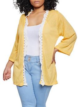 Plus Size Crochet Trim Open Front Cardigan - 1912038340461