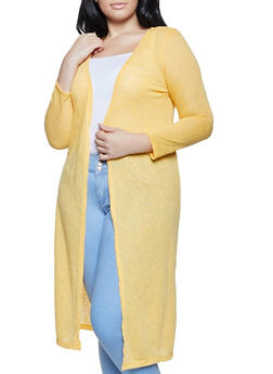 Plus Size Burnout Knit Duster - 1912038340463