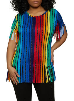 Plus Size Multi Stripe Fringe Tee - 1912038340487