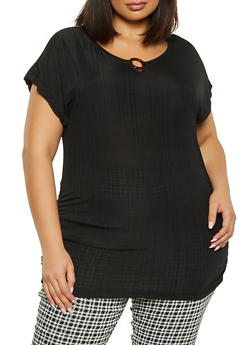 Plus Size O Ring Detail Ruched Top - 1912038341307