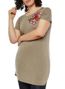 Plus Size Floral Applique Tunic Top - 1912038342147