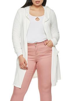 Plus Size Hooded Cardigan - 1912038342213