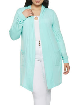 Plus Size Hooded Cardigan - 1912038342213