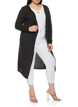 Plus Size Open Front Cardigan - 1912038342215