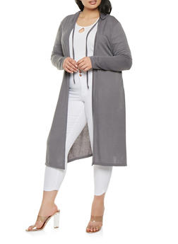 Plus Size Hooded Duster - 1912038342217