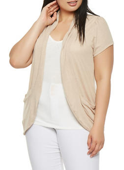Plus Size Cardigan with Attached Tank Top - 1912038342218