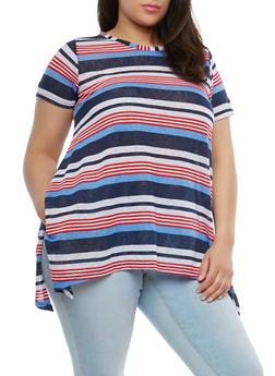 Plus Size Striped Sharkbite Hem T Shirt - 1912038342340