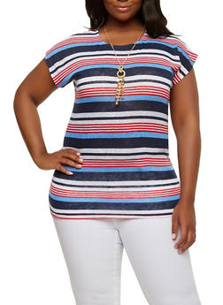Plus Size Striped Top with Necklace - 1912038342341