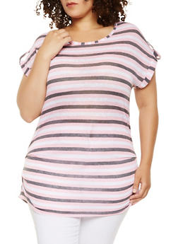 Plus Size Striped Ruched Side Top - 1912038342342